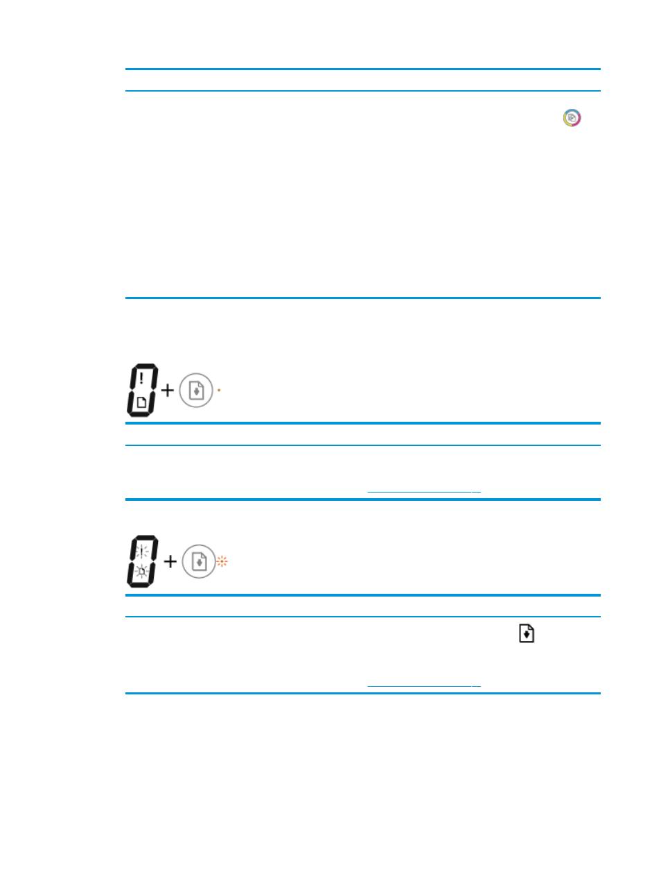 Icono error , icono error de papel y luz reanudar, Icono número de ...