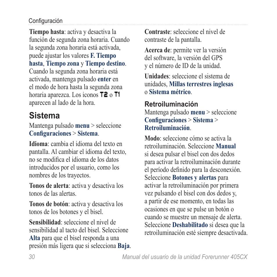 Sistema | Garmin Forerunner 405 CX Manual del usuario | Página 36 / 56