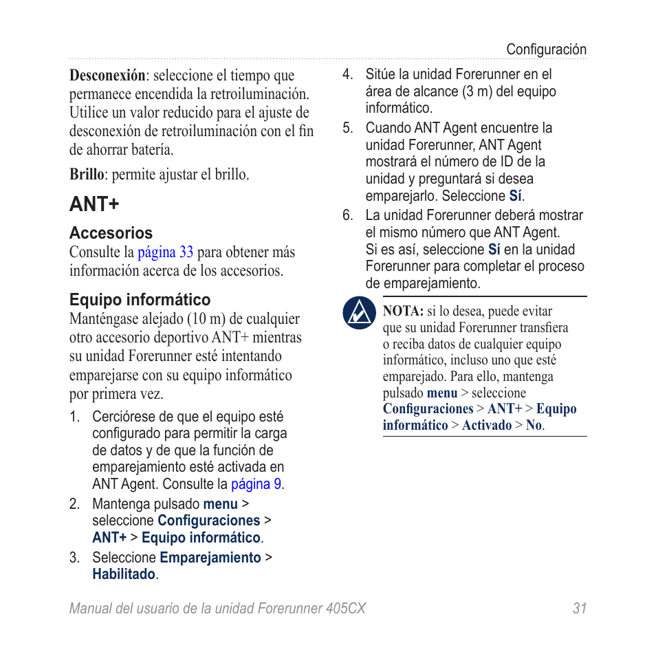 Garmin Forerunner 405 CX Manual del usuario | Página 37 / 56