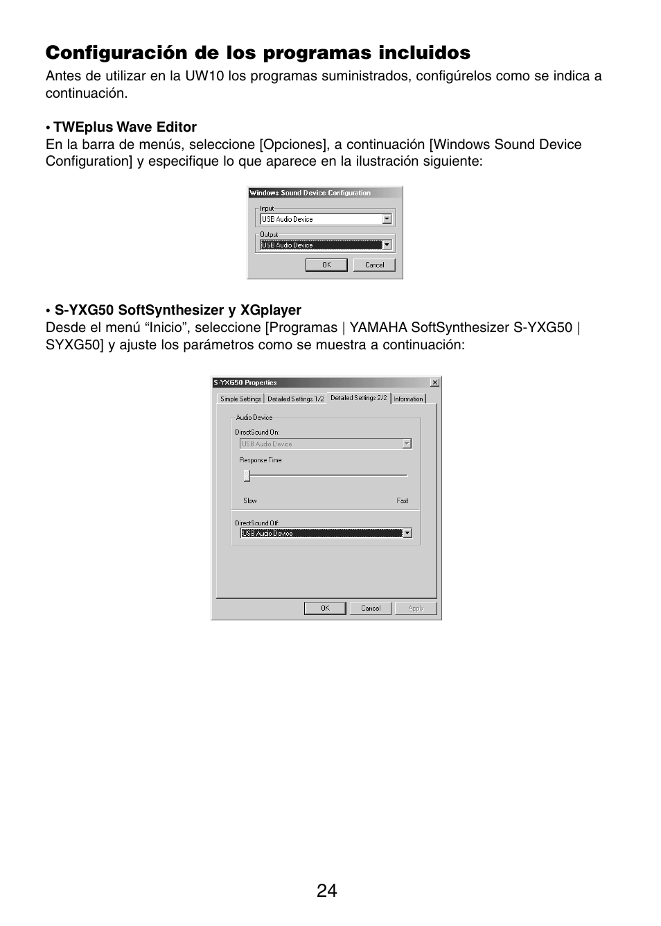 Configuración de los programas incluidos | Yamaha UW10