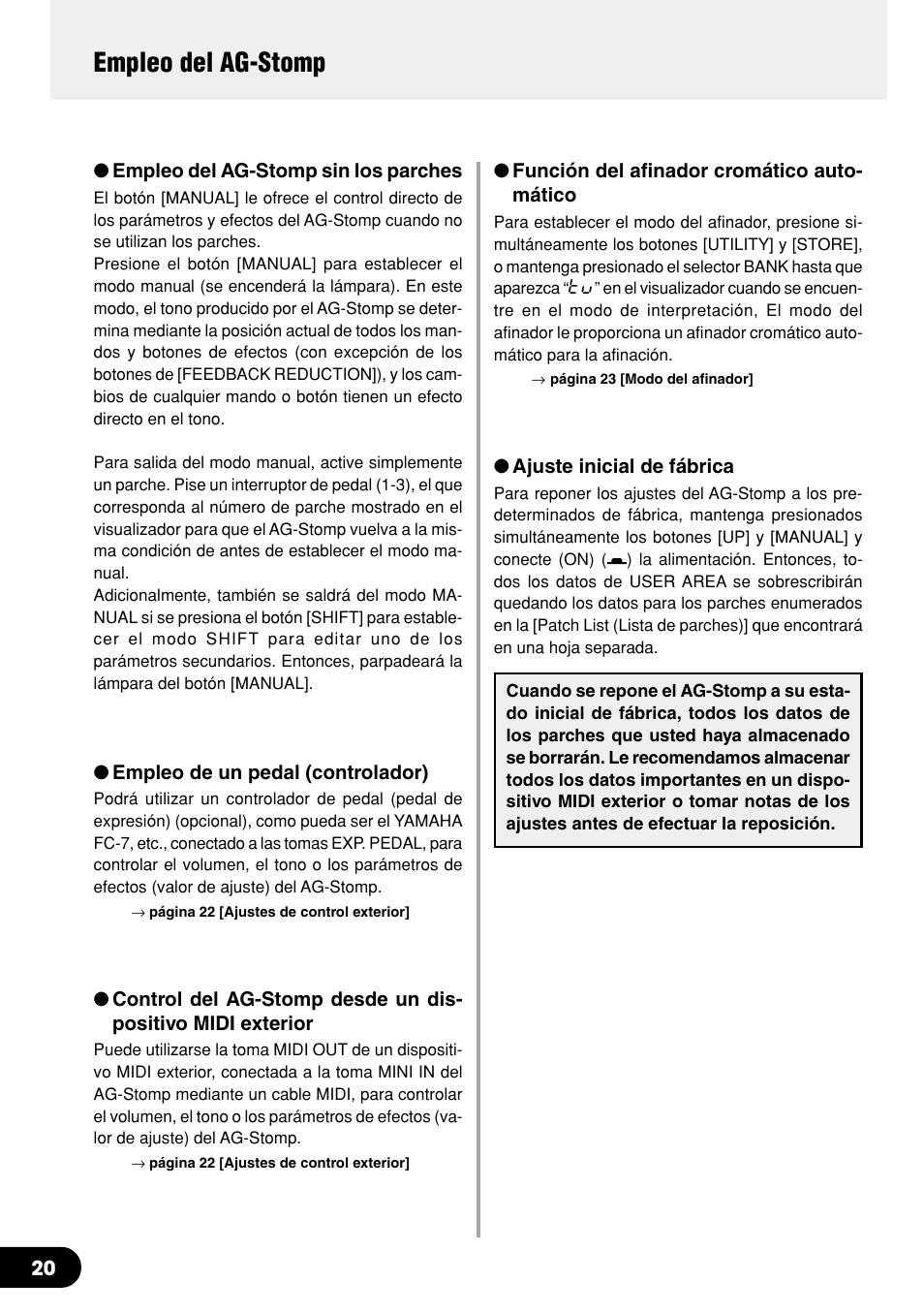 Empleo del ag-stomp | Yamaha AG-Stomp Manual del usuario | Página 20