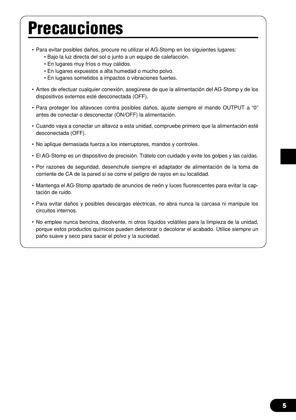 Precauciones | Yamaha AG-Stomp Manual del usuario | Página 5 / 32