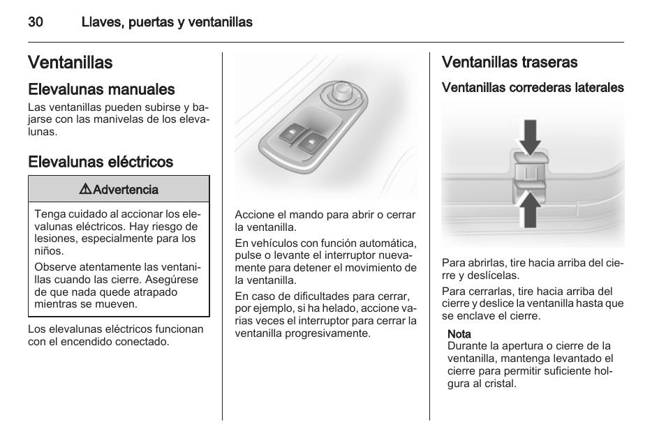 ventanillas elevalunas manuales elevalunas el ctricos opel rh pdfmanuales com Opel Vivaro 9 Passenger manual instrucciones opel vivaro