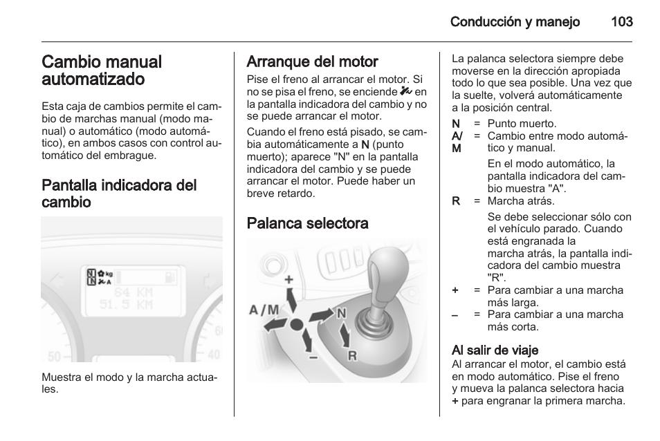 cambio manual automatizado pantalla indicadora del cambio arranque rh pdfmanuales com manual instrucciones opel vivaro manual instrucciones opel vivaro