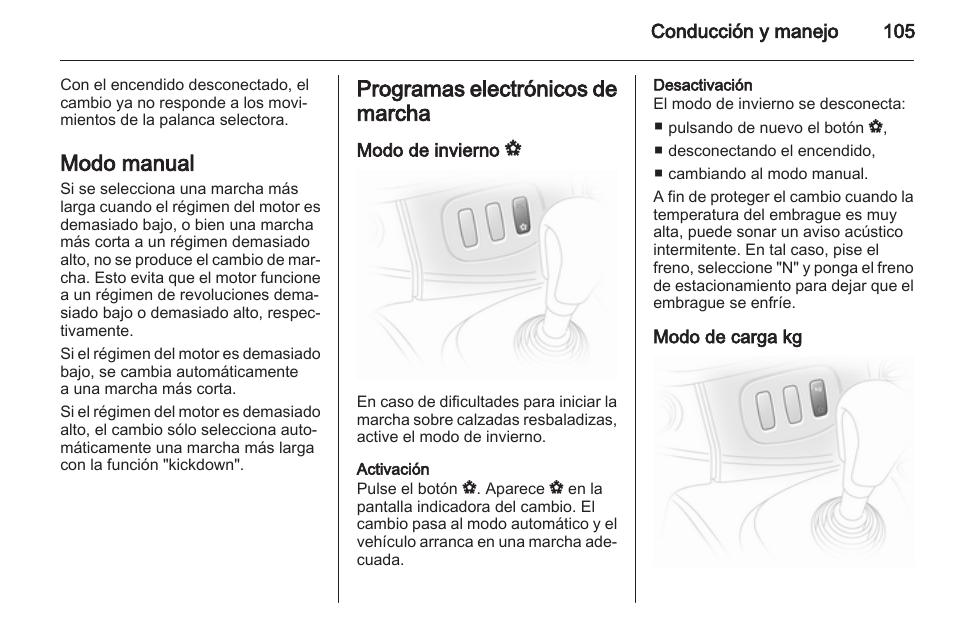 modo manual programas electr nicos de marcha modo de invierno v rh pdfmanuales com Opel Vivaro Space Opel Vivaro 9 Passenger