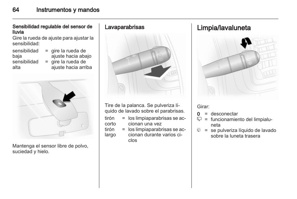 sensibilidad regulable del sensor de lluvia lavaparabrisas limpia rh pdfmanuales com Opel Vivaro Seating Opel Vivaro Interior
