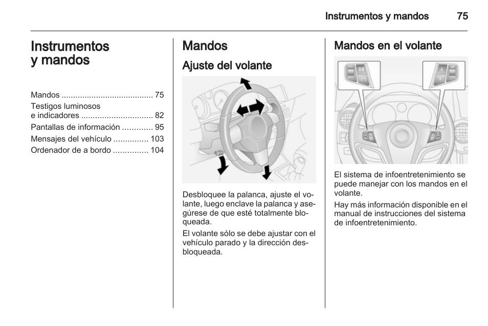 instrumentos y mandos mandos ajuste del volante opel antara rh pdfmanuales com