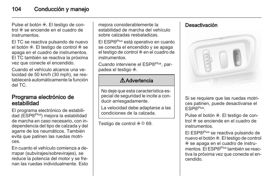 programa electr nico de estabilidad desactivaci n 104 conducci n y rh pdfmanuales com manual instrucciones opel vivaro Opel Mokka