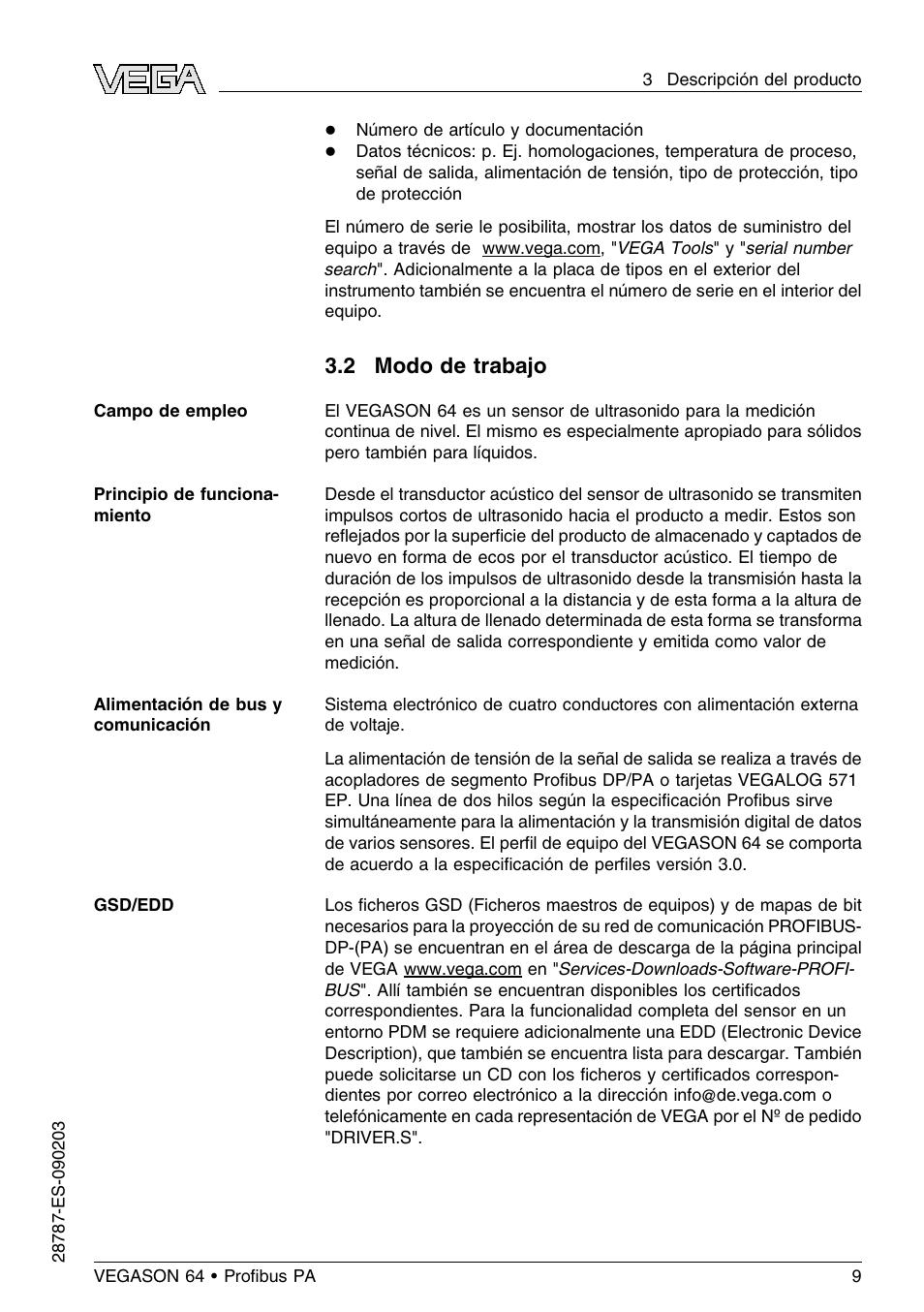 2 modo de trabajo   VEGA VEGASON 64 Profibus PA Manual del