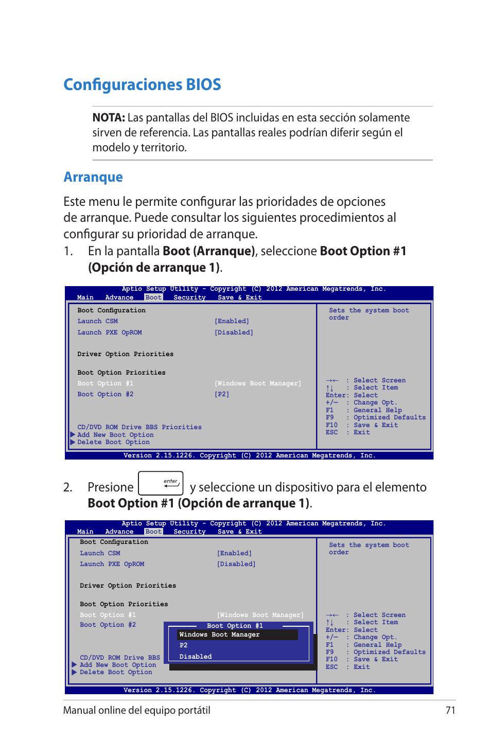 Configuraciones bios, Arranque, Manual online del equipo portátil 71
