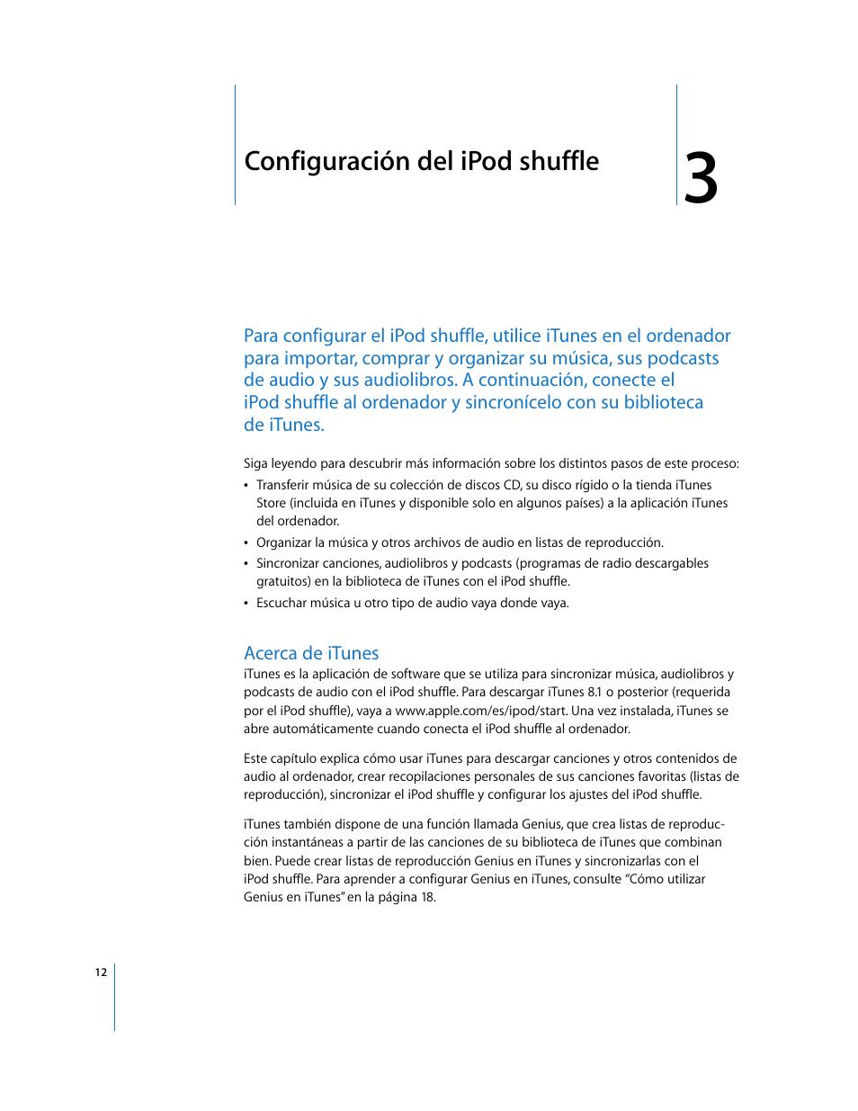 Configuración del ipod shuffle, Acerca de itunes   Apple iPod shuffle (tercera  generación)