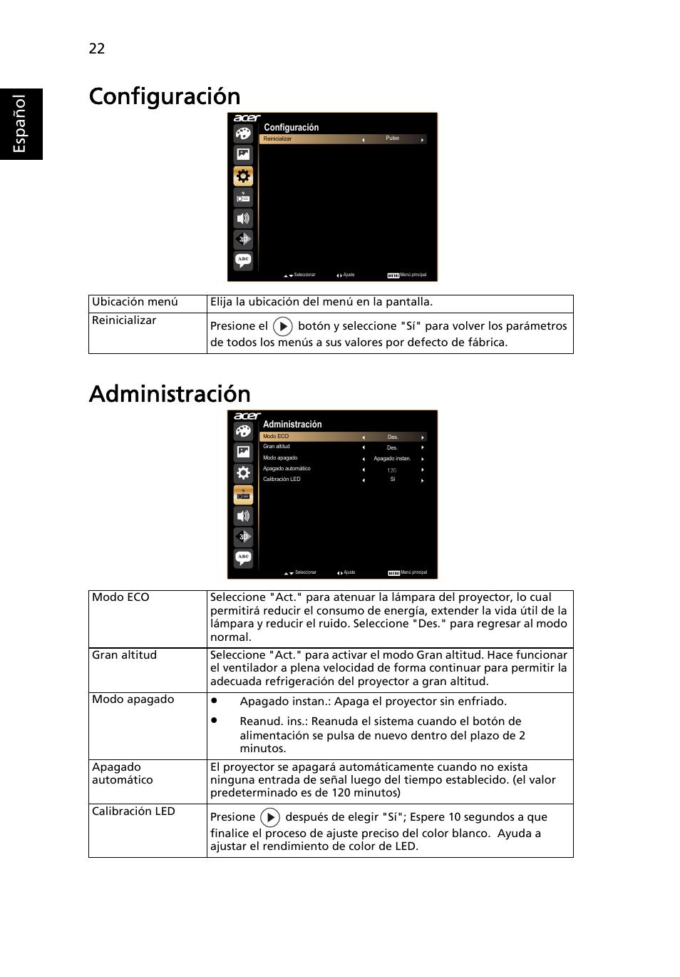 Configuración, Administración, Configuración administración   Acer ...