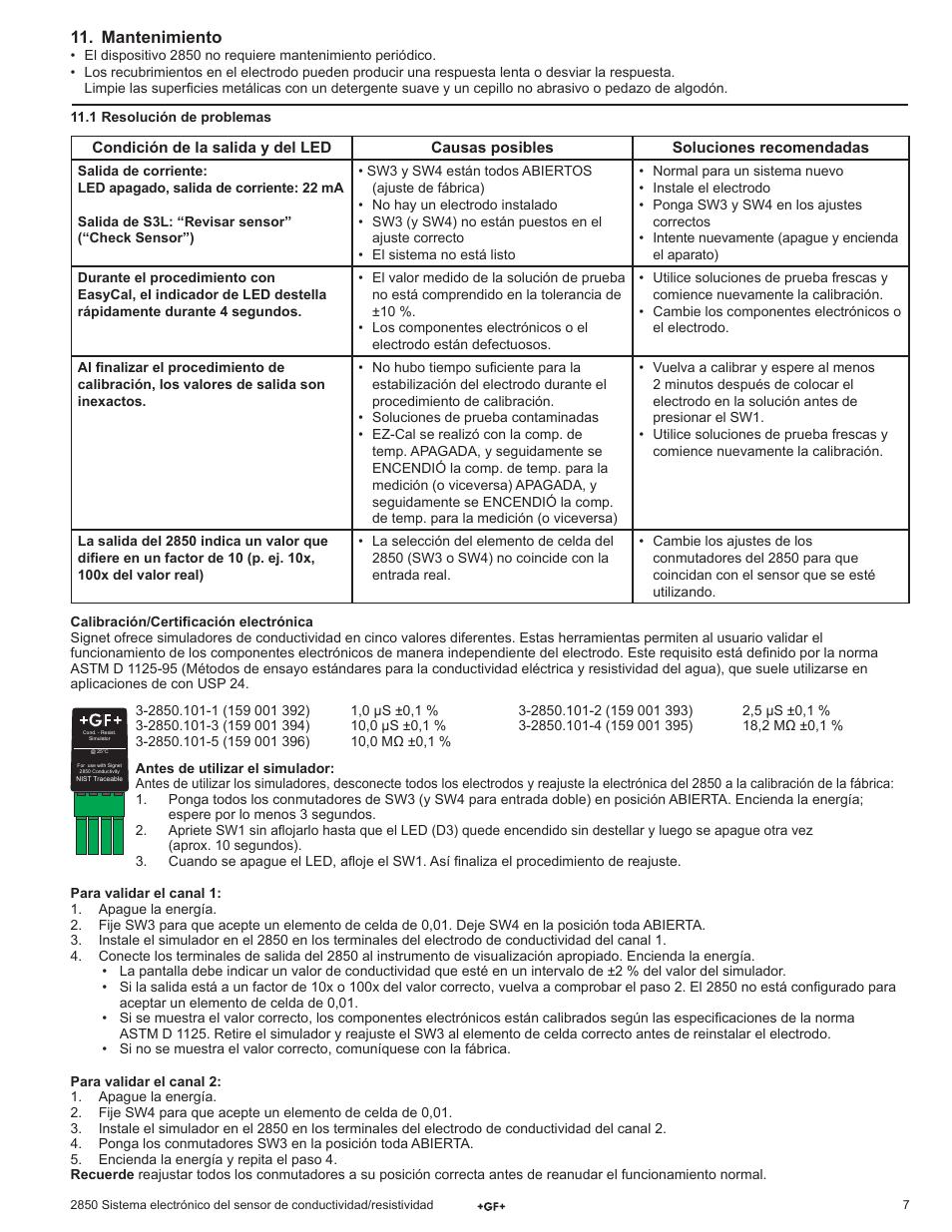Mantenimiento | GF Signet 2850 Conductivity-Resistivity Sensor ...