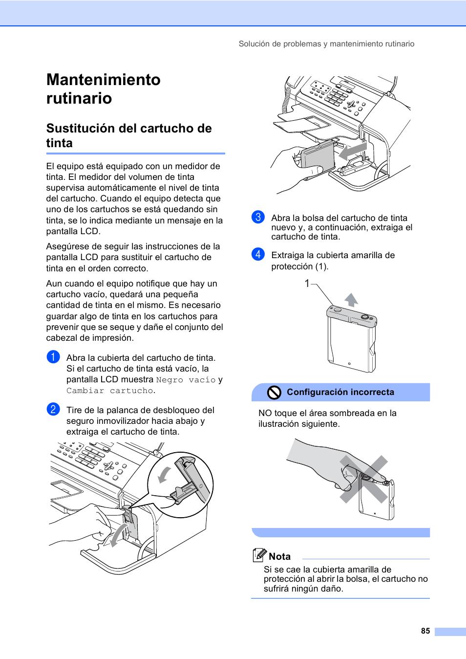 Mantenimiento rutinario, Sustitución del cartucho de tinta   Brother FAX-1560  Manual del usuario   Página 97 / 130