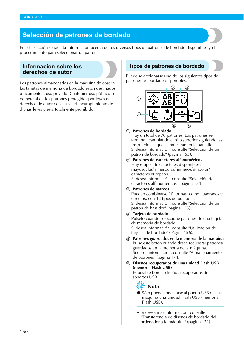 Selección de patrones de bordado, Información sobre los derechos de ...