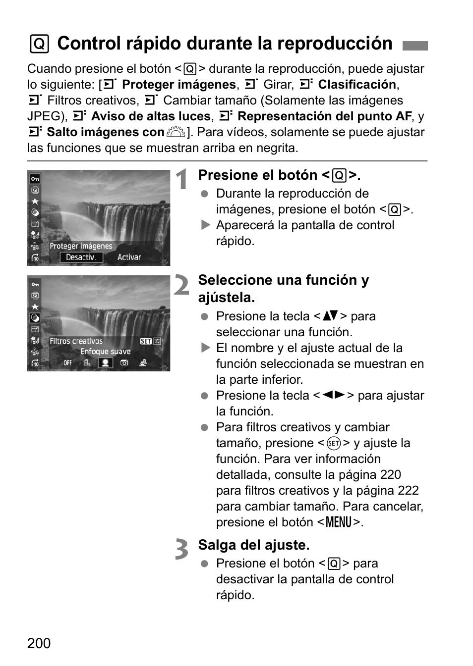 Q control rápido durante la reproducción   Canon EOS 60D Manual del usuario    Página 200