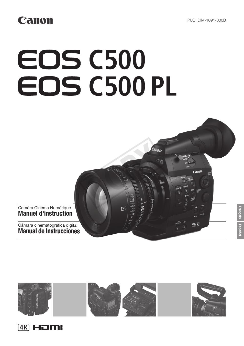Canon EOS C500 PL Manual del usuario | Páginas: 219 | También para ...