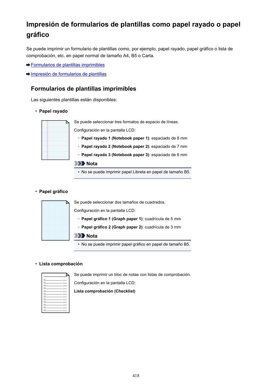 Formularios de plantillas imprimibles | Canon PIXMA MX475 Manual del ...