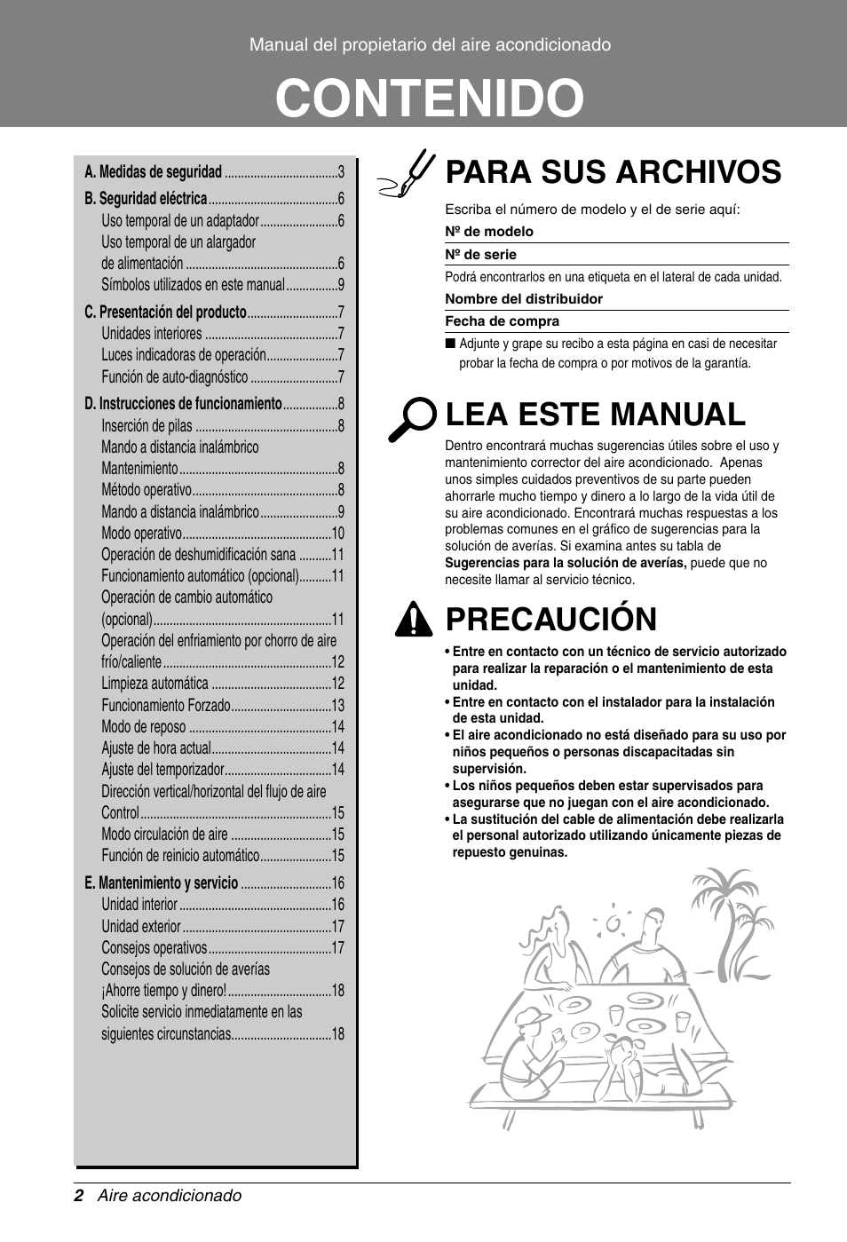 Lg s09af manual del usuario p gina 2 19 tambi n para for Manual aire acondicionado