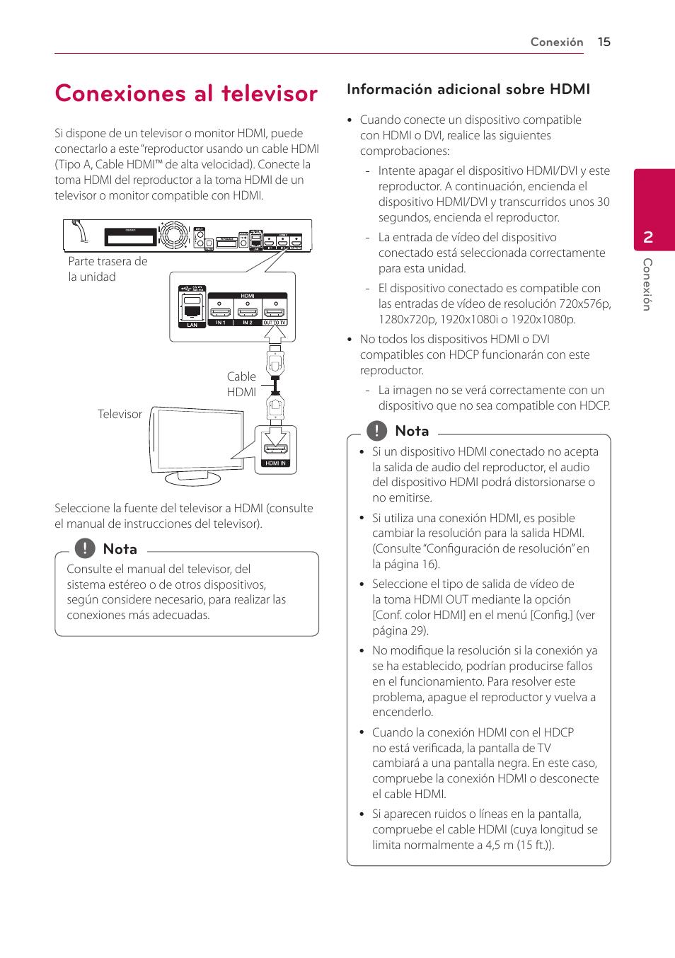 conexiones al televisor lg bh9540tw manual del usuario p gina 15 rh pdfmanuales com manual de instrucciones televisor lg 32ln540b Instrucciones Para Ninos