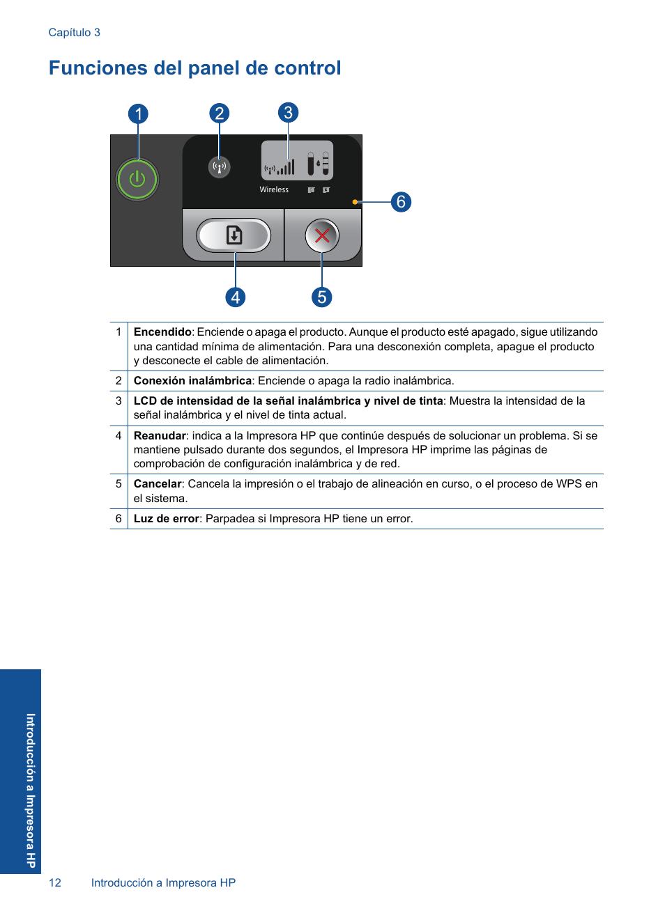 Funciones del panel de control   HP Impresora HP Deskjet D5560 ...
