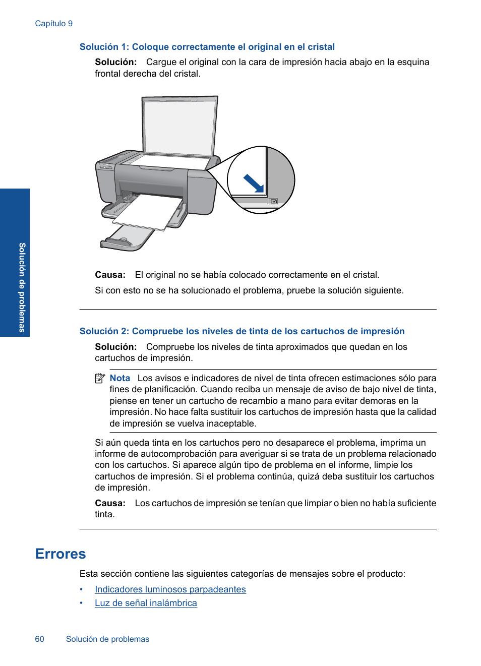 Errores | HP Impresora Todo-en-Uno HP Deskjet F4580 Manual del usuario |