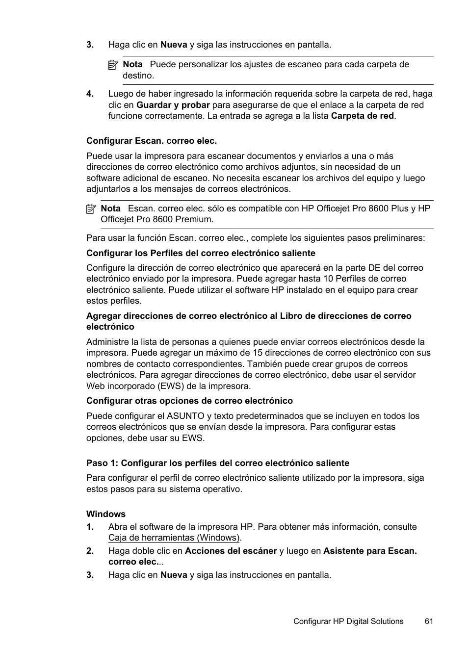 Configurar escan. correo elec | HP Officejet Pro 8600 Manual del usuario |  Página 65 / 276