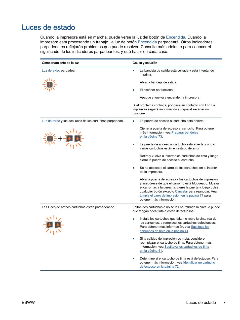 Luces de estado | HP Impresora Todo-en-Uno HP Deskjet 2540 Manual ...
