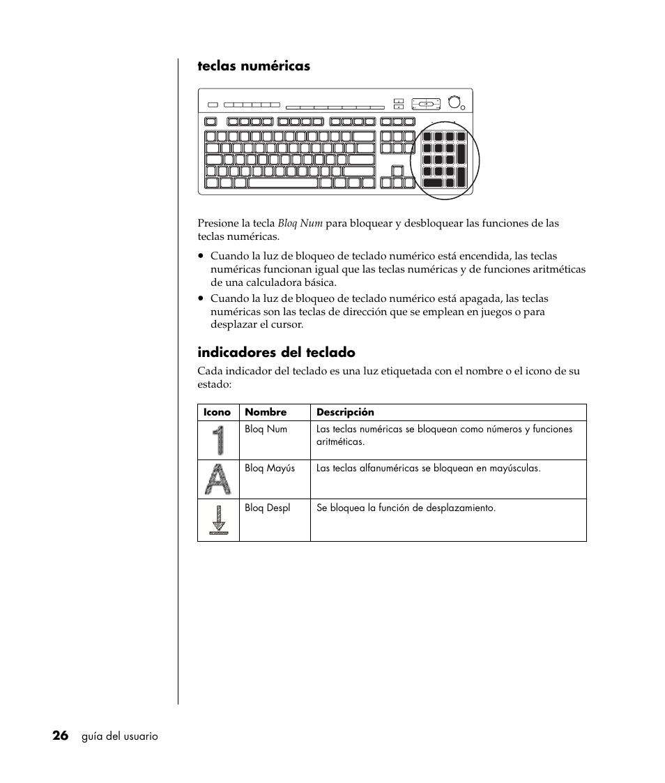 Teclas numéricas, Indicadores del teclado | HP PC Desktop Compaq Presario  S5000LA Manual del usuario