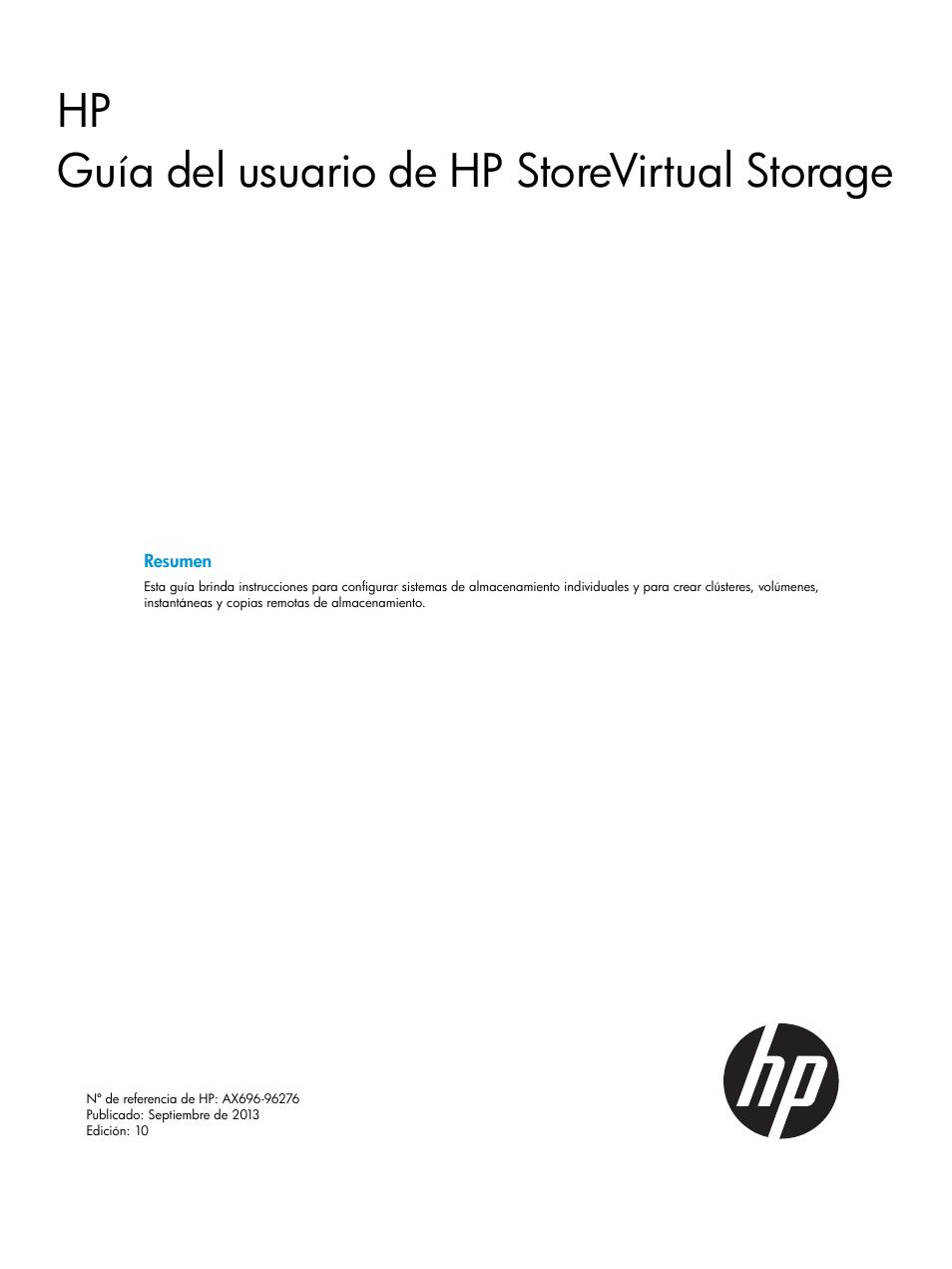 HP Soluciones HP LeftHand P4000 SAN Manual del usuario | Páginas ...