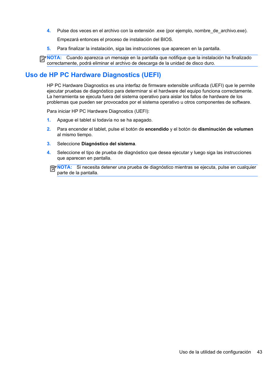 Uso de hp pc hardware diagnostics (uefi) | HP Tablet HP ElitePad