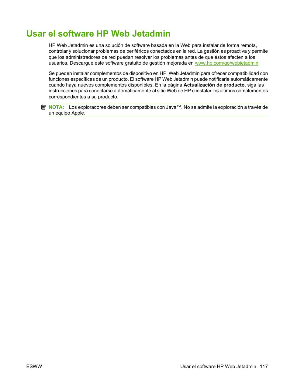 Usar el software hp web jetadmin | HP Laserjet p3015 Manual