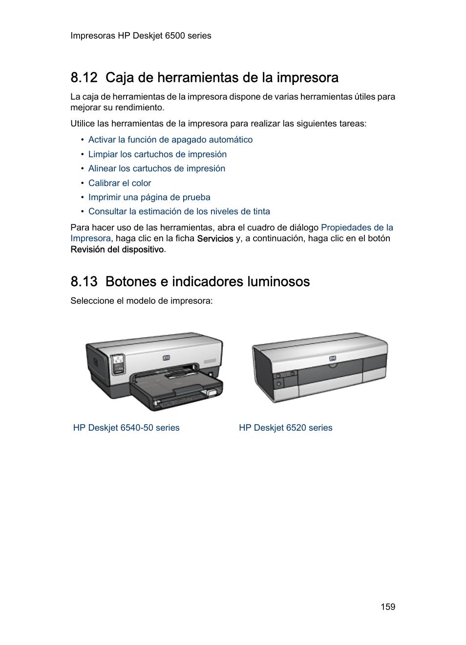 12 caja de herramientas de la impresora, 13 botones e indicadores ...