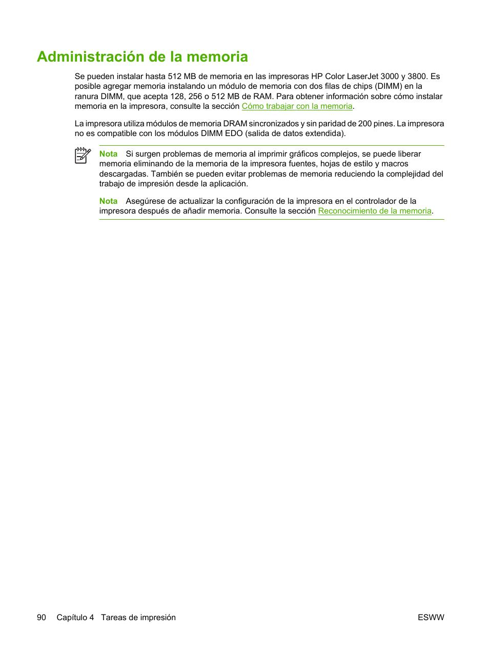Administración de la memoria | HP Impresora HP Color LaserJet serie 3600  Manual del usuario |