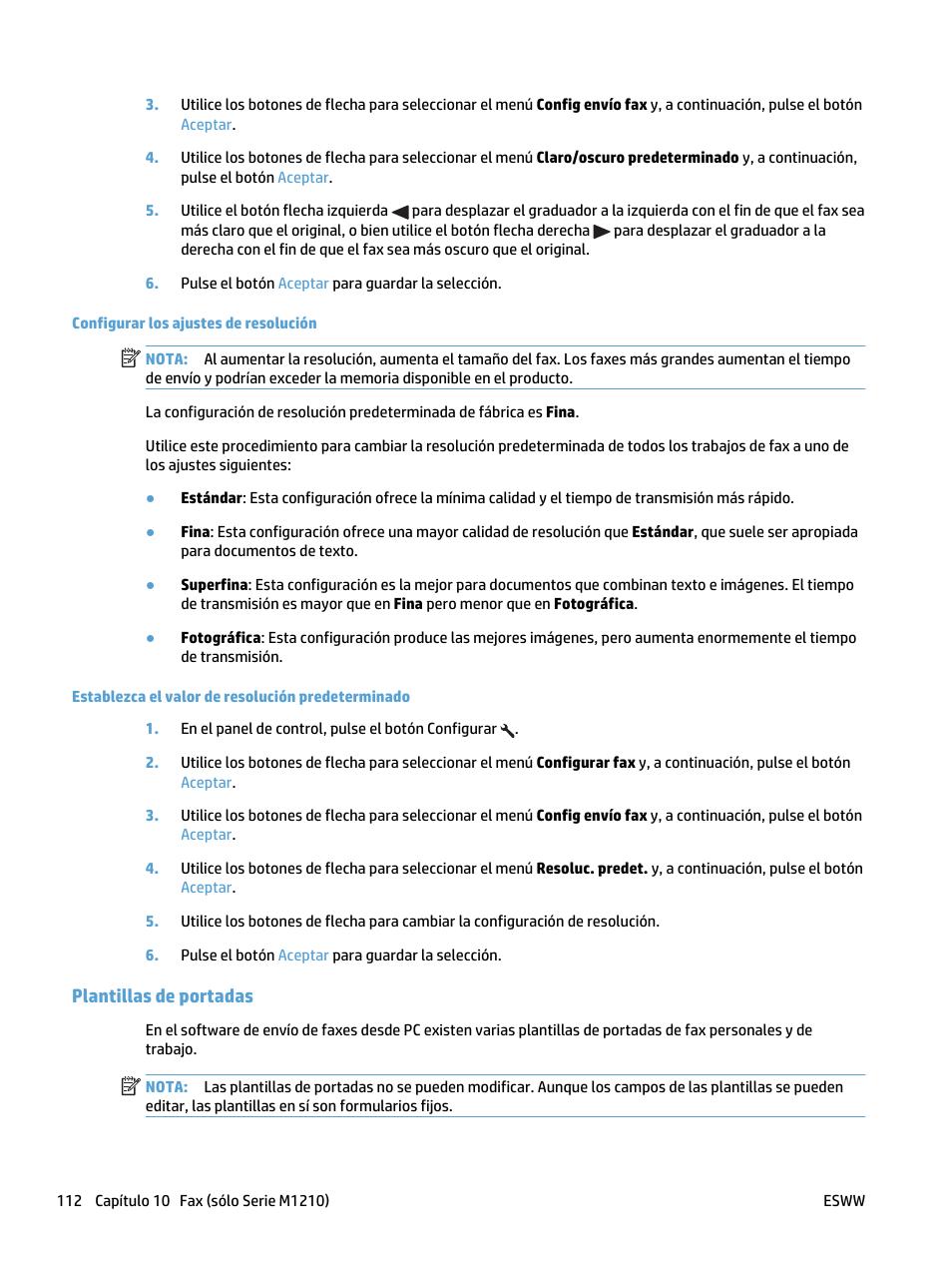 Configurar los ajustes de resolución, Plantillas de portadas | HP ...