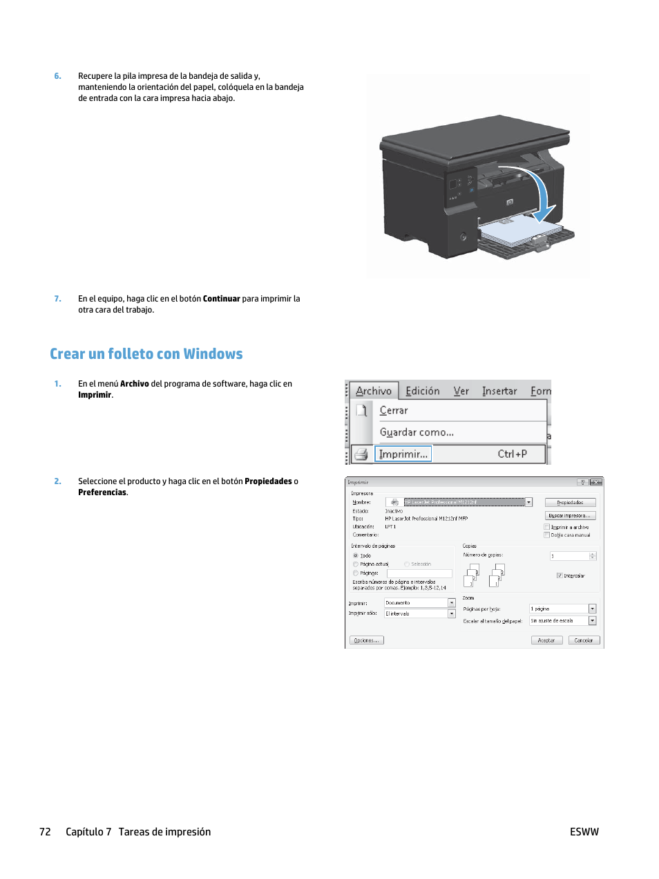 Crear un folleto con windows | HP laserjet m1212nf Manual del usuario |  Página 86 /