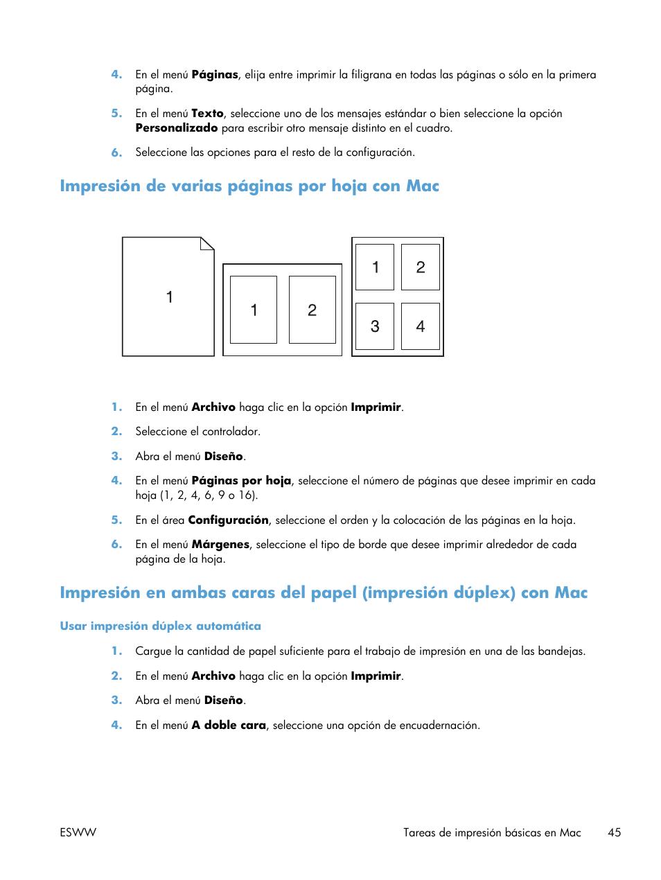 Impresión de varias páginas por hoja con mac | HP Impresora HP ...