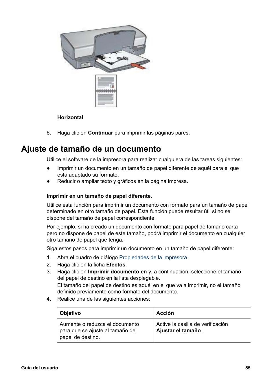 ajuste de tama o de un documento ajuste el tama o hp impresora rh pdfmanuales com hp deskjet 6540 manual hp deskjet 5440 service manual