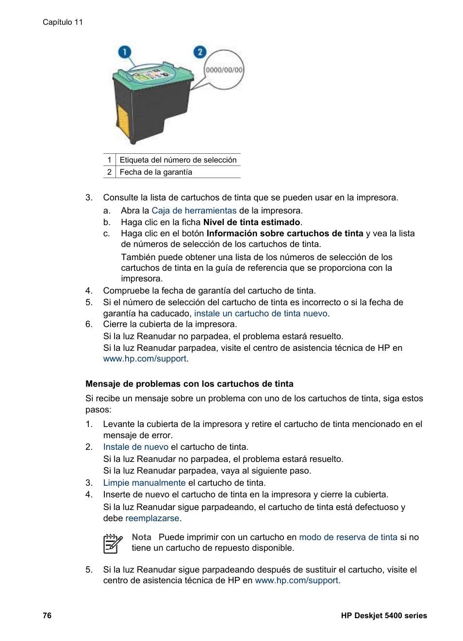 HP Impresora color de inyección de tinta HP Deskjet 5440 Manual del ...