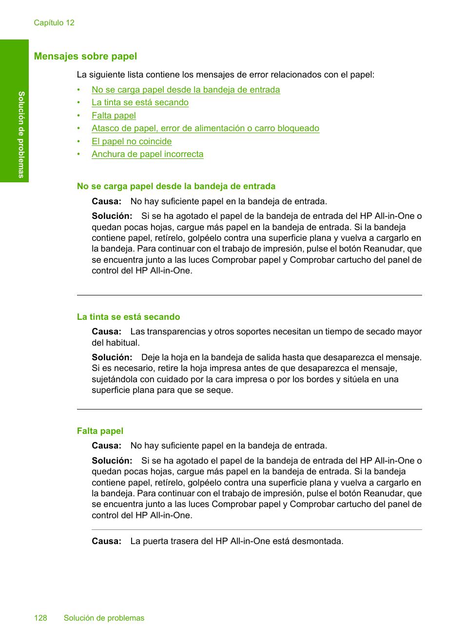 Mensajes sobre papel | HP Impresora Todo-en-Uno HP Deskjet F2180 Manual del