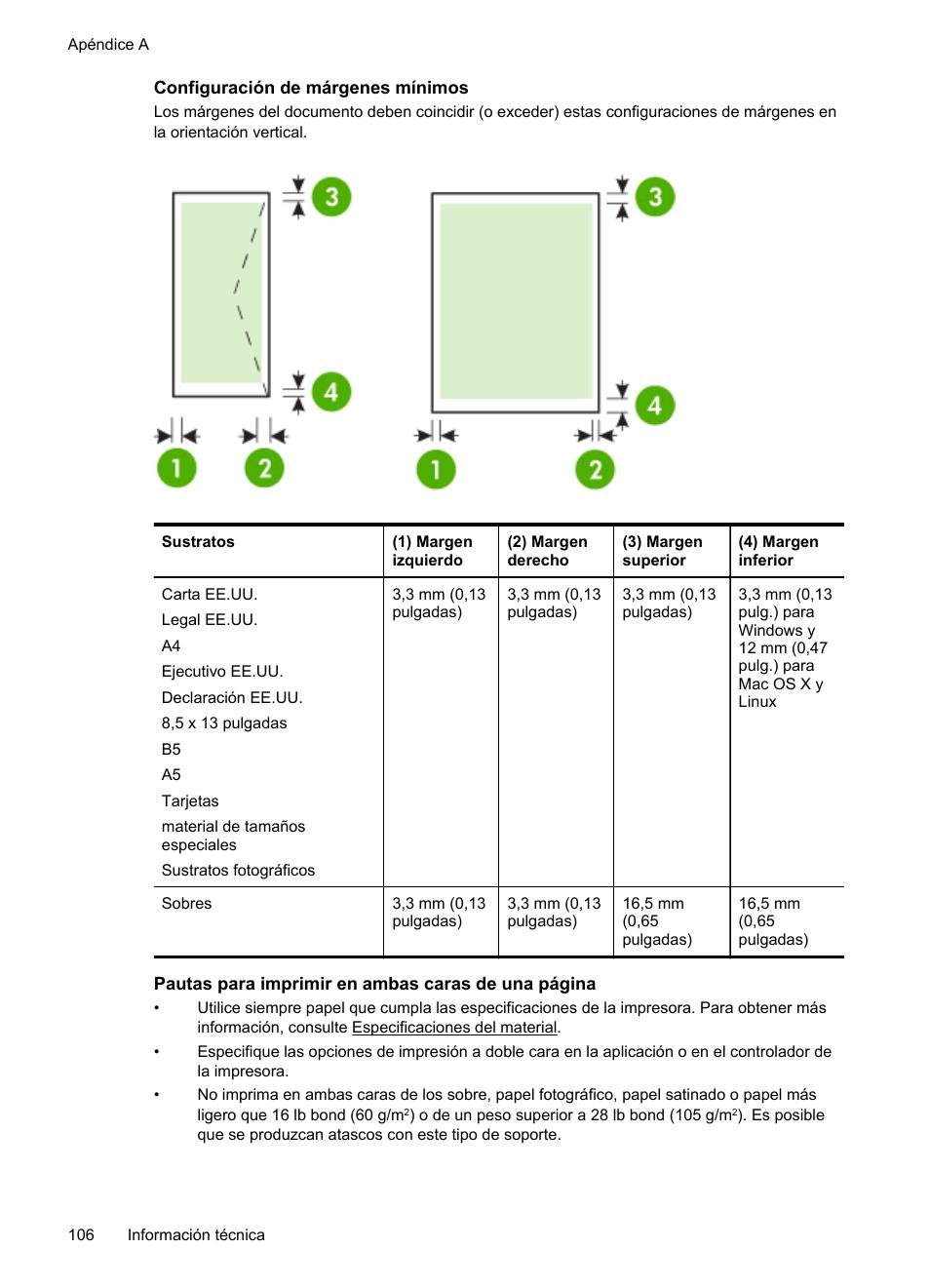 Configuración de márgenes mínimos   HP Impresora HP Officejet Pro 8100  ePrinter - N811a N811d Manual