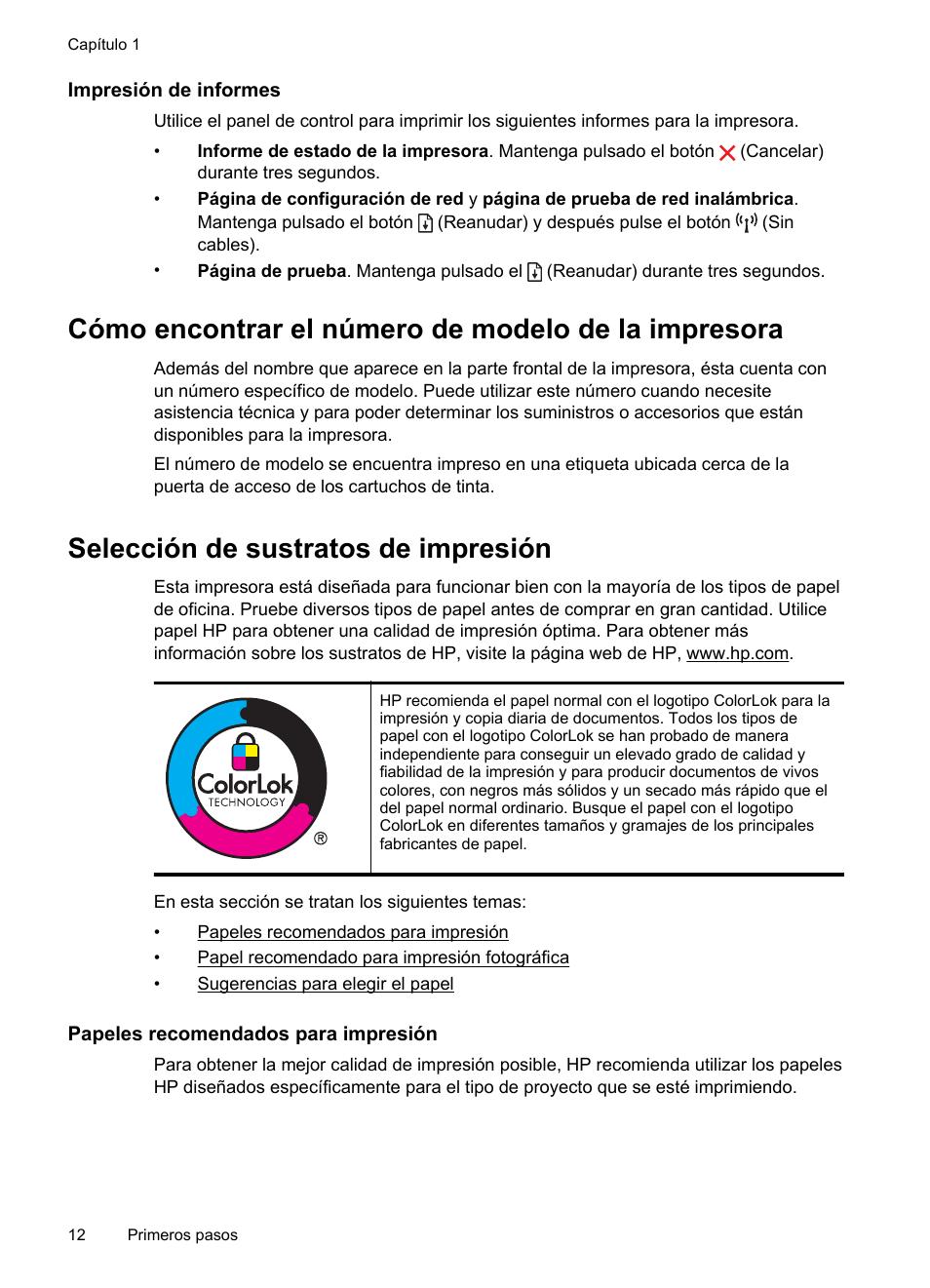 Impresión de informes, Cómo encontrar el número de modelo de la ...