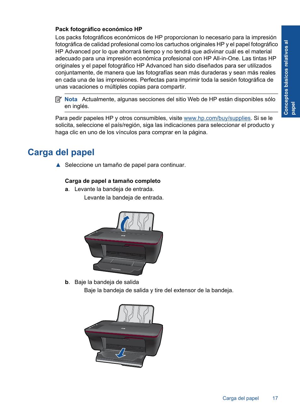... Array - carga del papel hp impresora todo en uno hp deskjet 1050 j410a  rh pdfmanuales