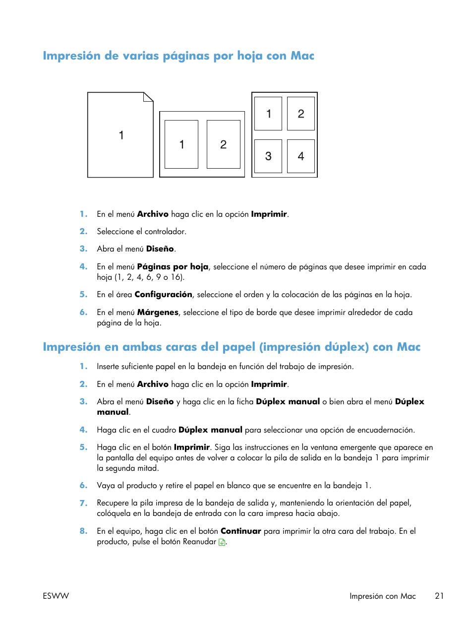 Impresión de varias páginas por hoja con mac | HP Impresora en color ...