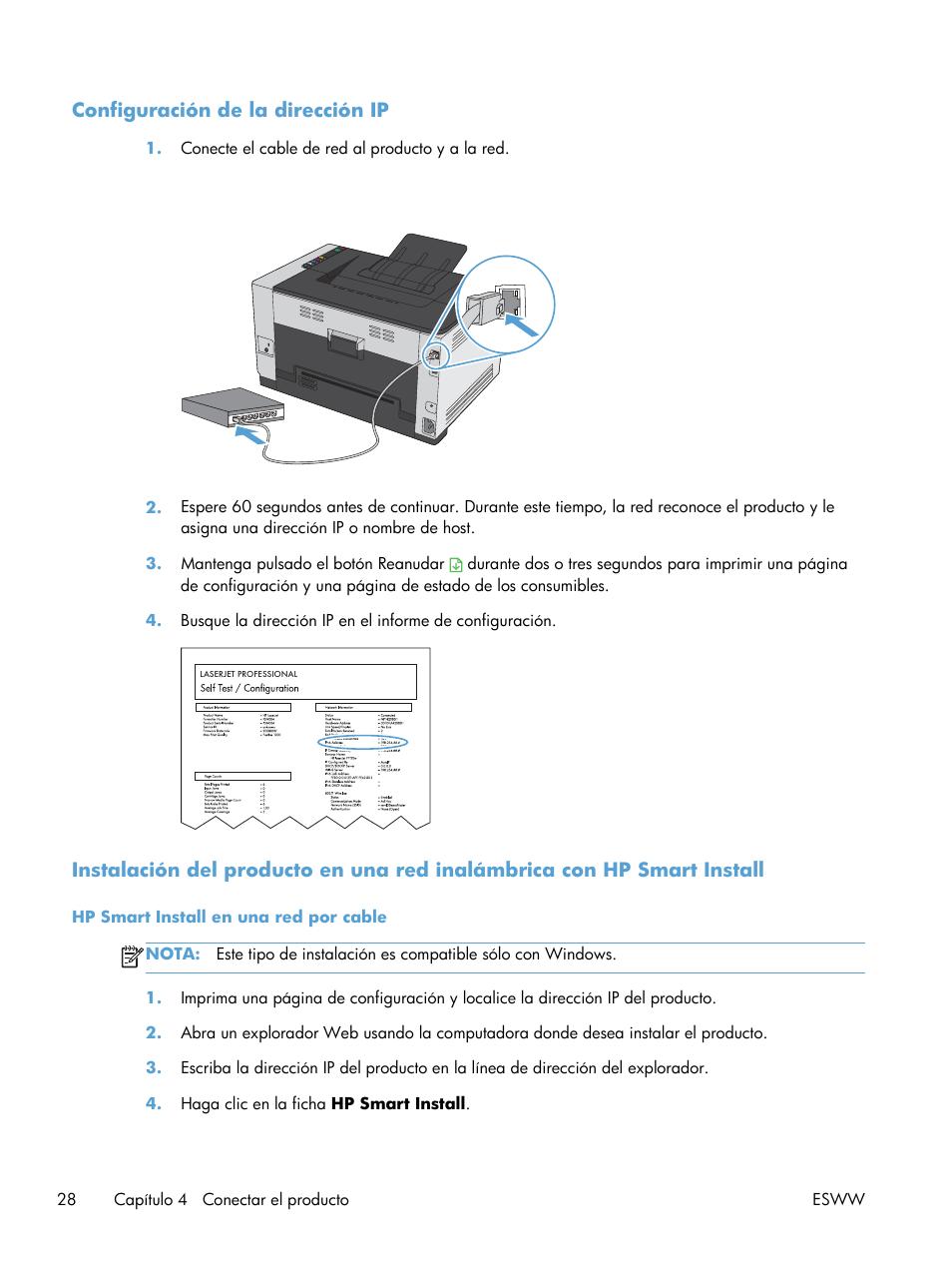 Configuración de la dirección ip | HP Impresora en color HP LaserJet ...