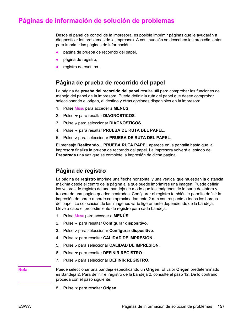 Páginas de información de solución de problemas, Página de prueba de ...