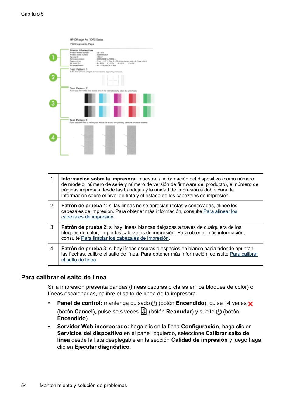 Para calibrar el salto de línea | HP Impresora HP Officejet Pro ...