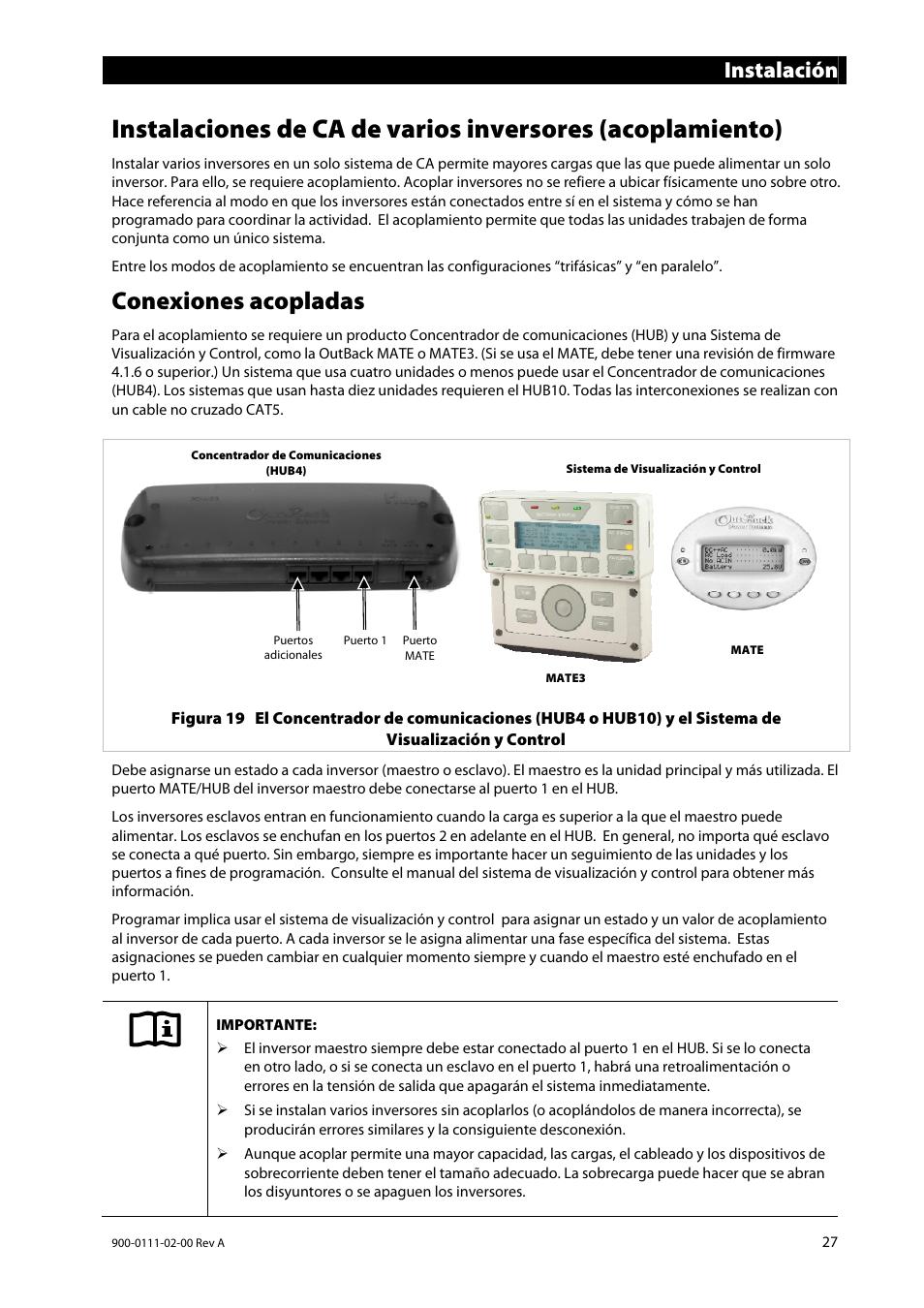 Conexiones acopladas, Instalación | Outback Power Systems