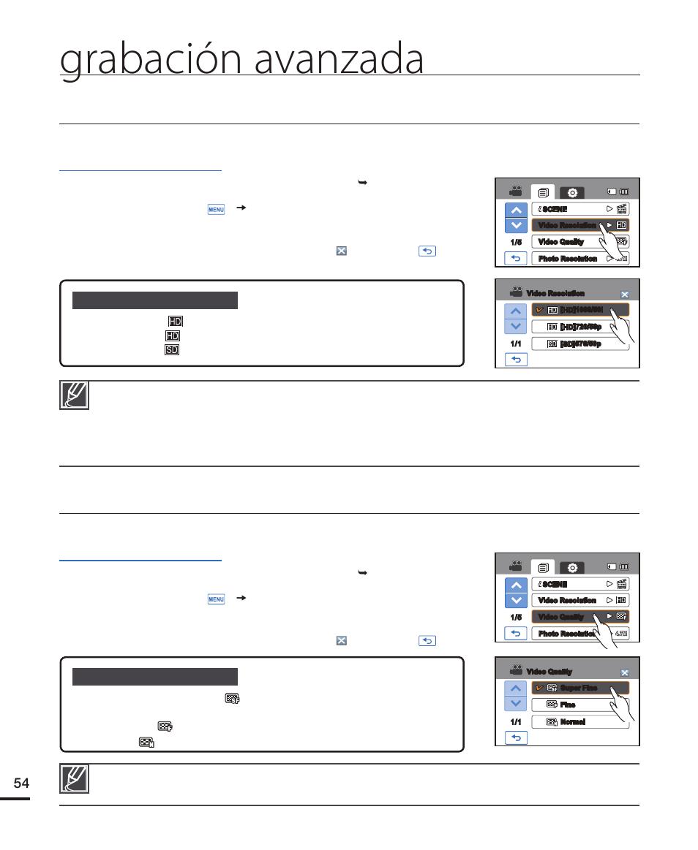 Video resolution (resolución vídeo), Video quality (calidad vídeo ...