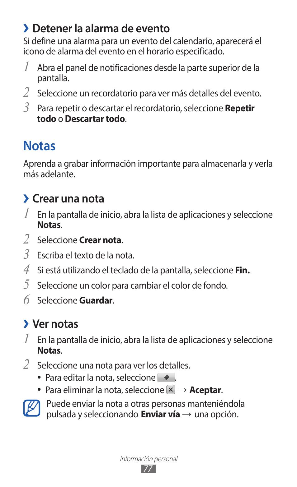 Alarma Calendario Samsung.Notas Detener La Alarma De Evento Crear Una Nota Samsung